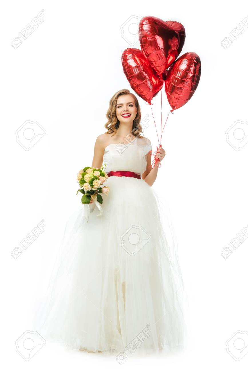 Beautiful Bride In Wedding Dress With Heart Shaped Balloons Stock ...