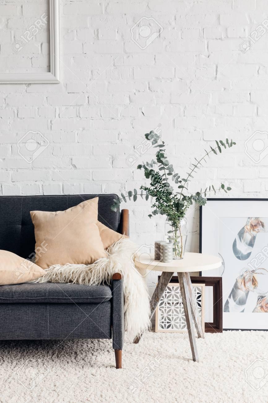 modern living room interior with stylish decor - 94579766