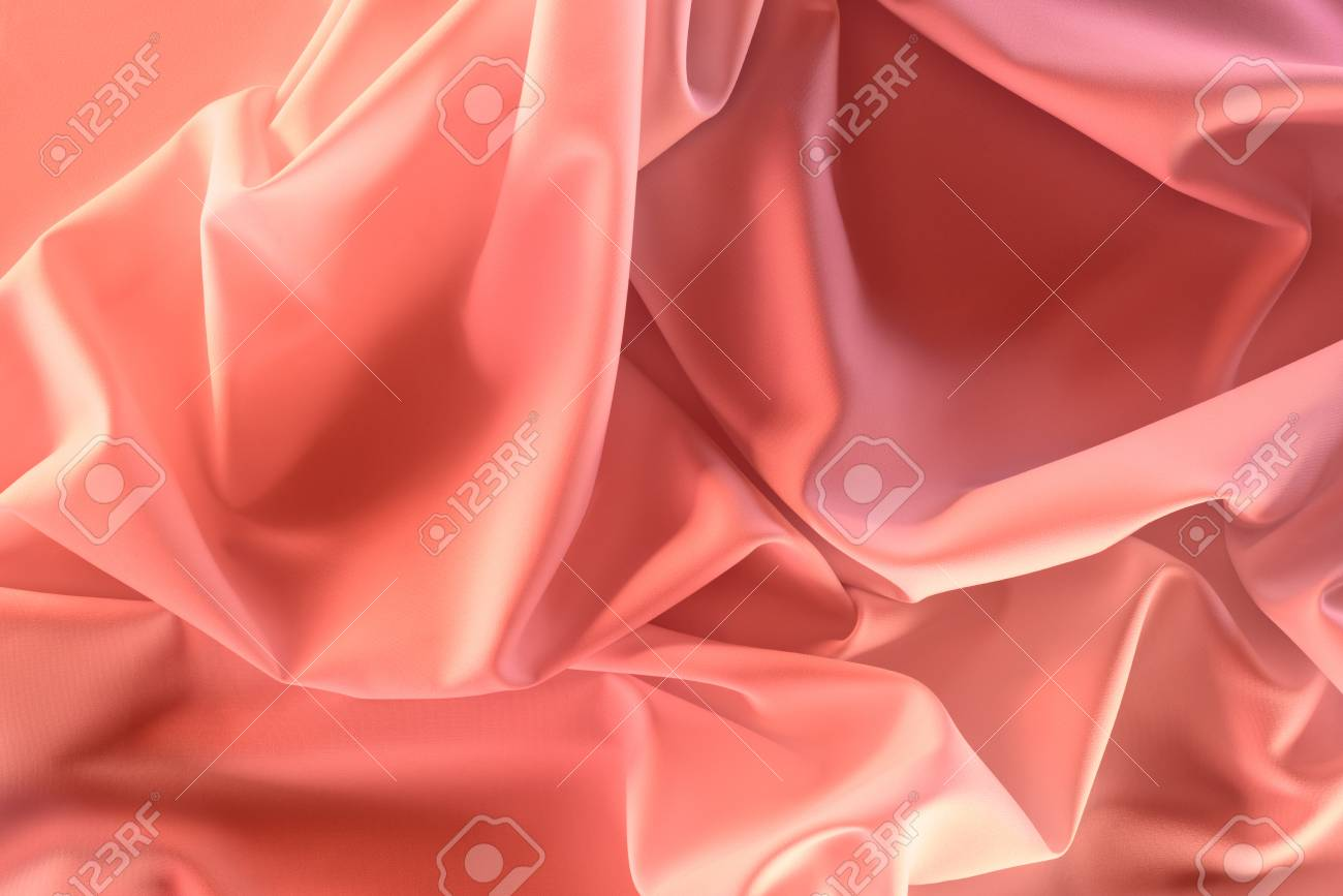 close up view of elegant pink silky fabric as background - 101353680