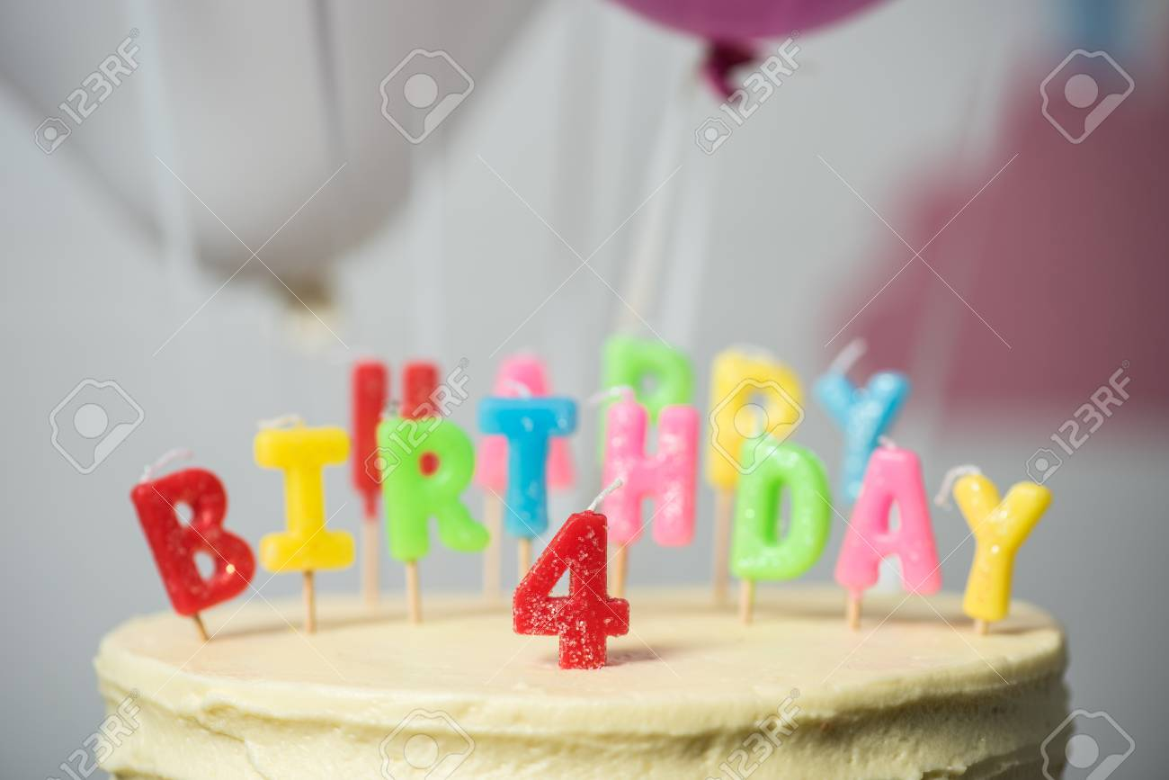 Remarkable Close Up View Of Delicious Birthday Cake With Number Four On Top Personalised Birthday Cards Akebfashionlily Jamesorg