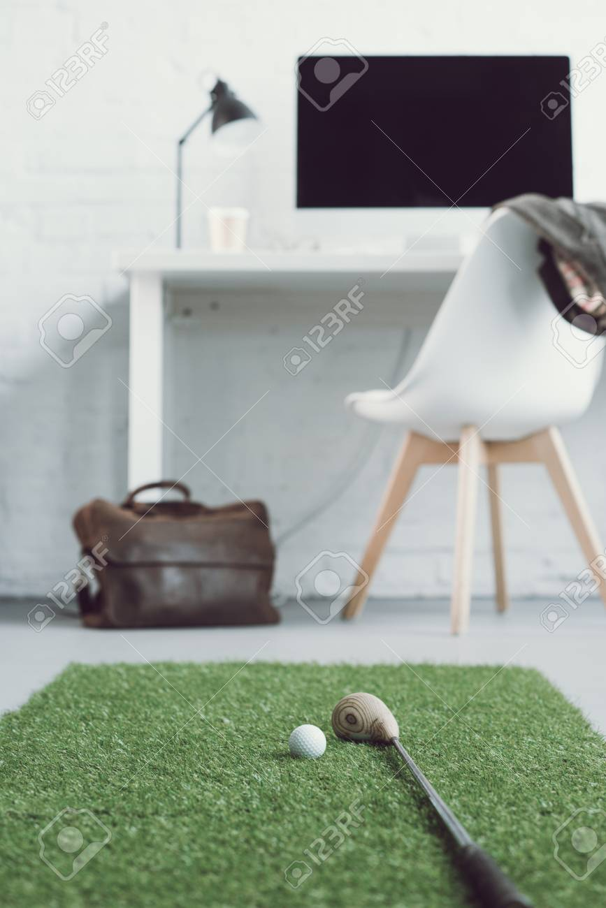 Excellent Golf Club And Ball On Green Grass Carpet In Light Modern Office Forskolin Free Trial Chair Design Images Forskolin Free Trialorg