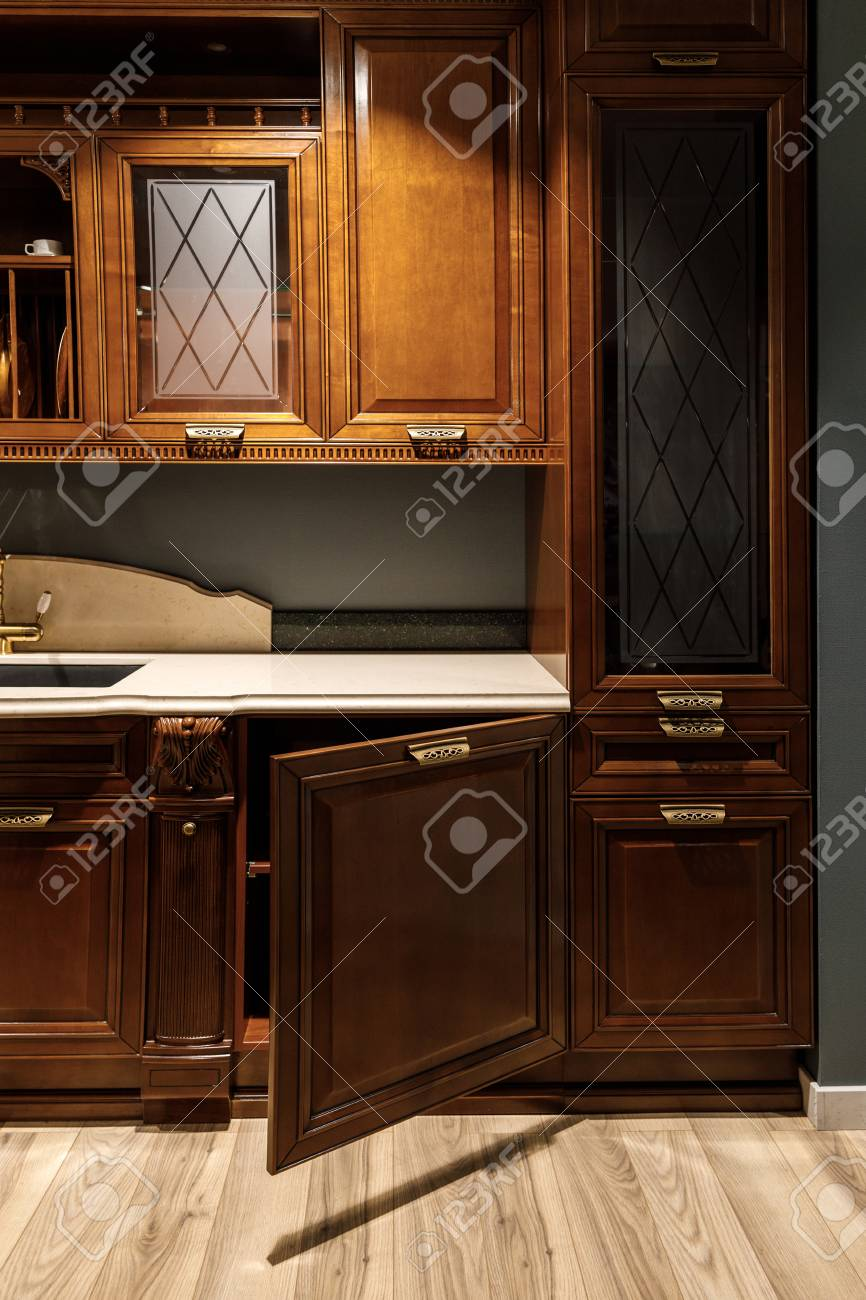 Interior Of Kitchen With Stylish Design With Vintage Style Cabinets Stock Photo Picture And Royalty Free Image Image 106600810