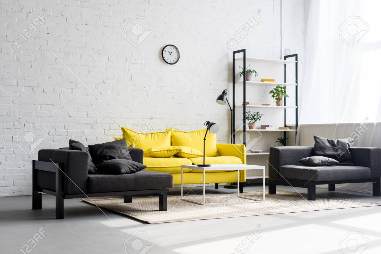 interior of stylish living room with white walls - 111693398