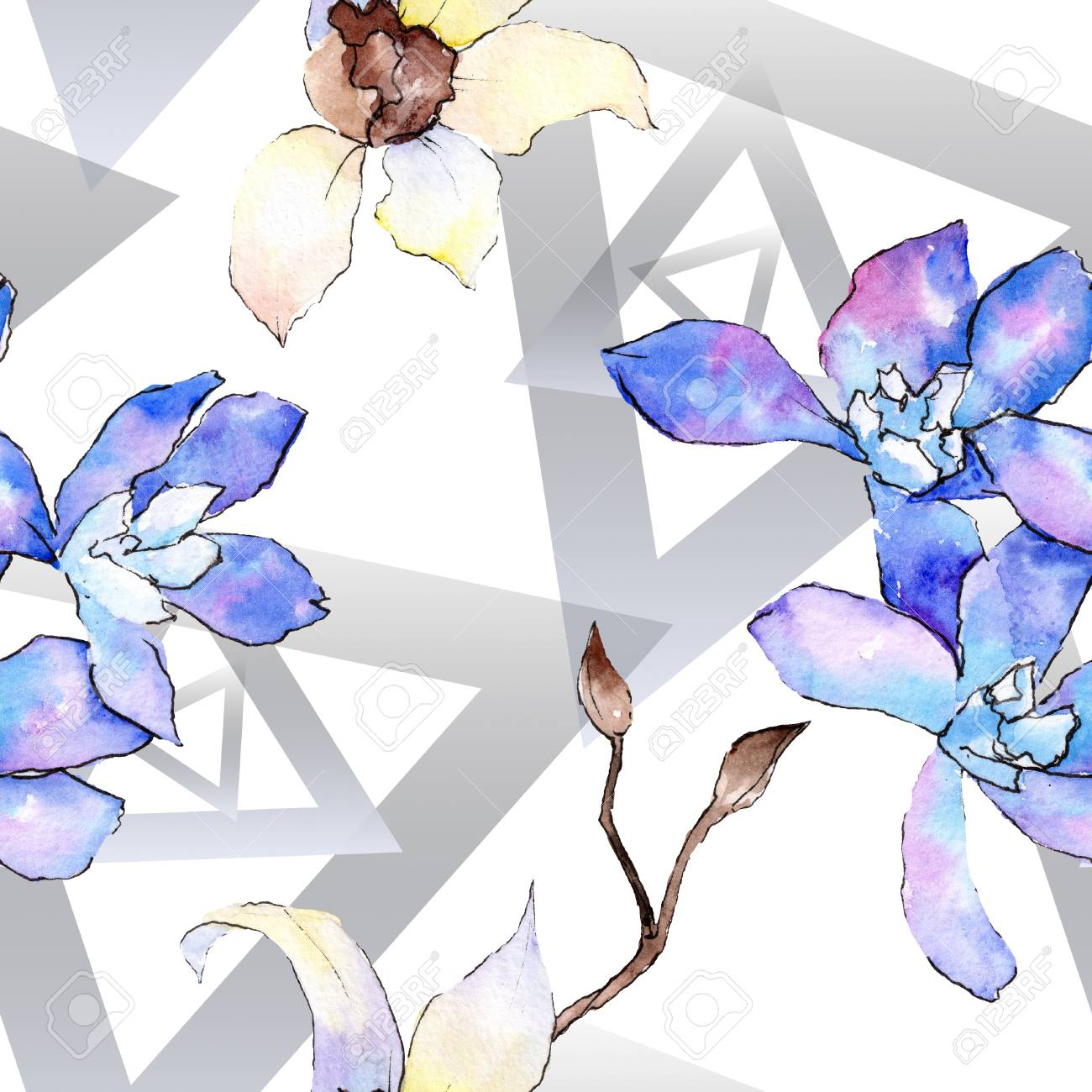 Purple And White Orchid Flower Floral Botanical Flower Seamless