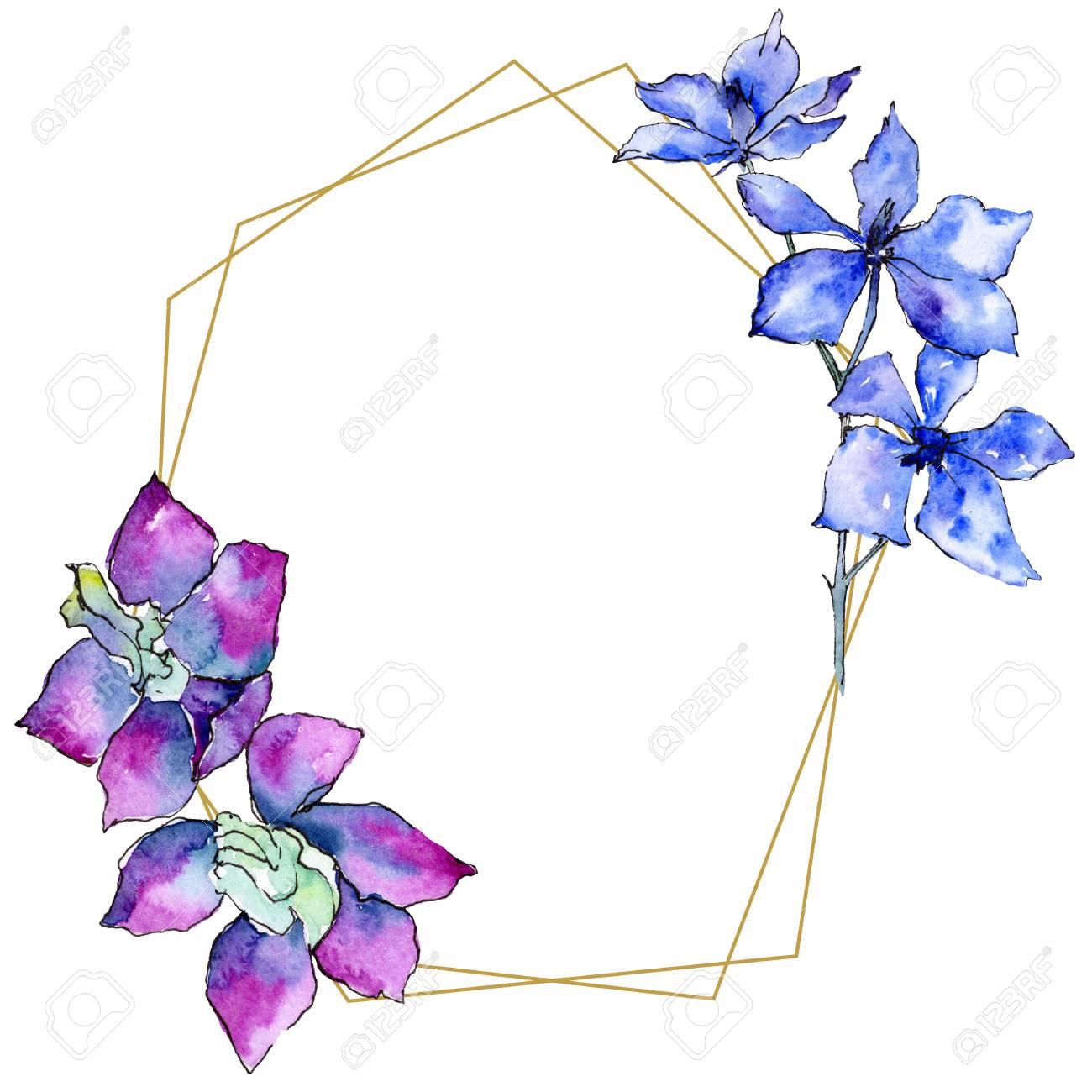 Purple Orchid Flower Floral Botanical Flower Watercolor
