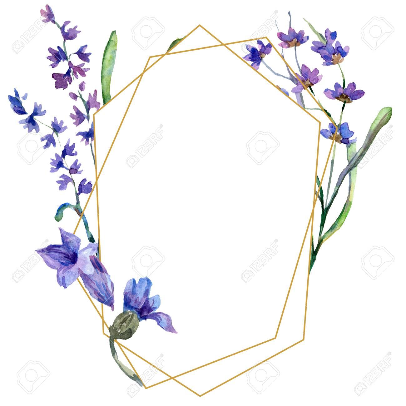 Purple lavender. Floral botanical flower. Watercolor background illustration set. Frame border ornament. Gold crystal stone polyhedron mosaic shape amethyst gem. - 113293255