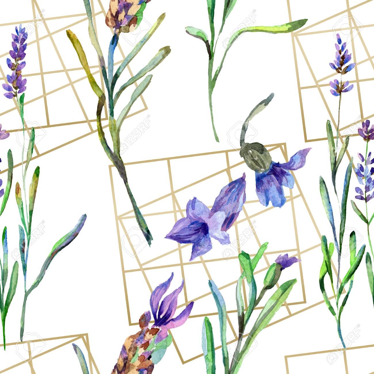 Purple Lavender Floral Botanical Flower Watercolor Seamless