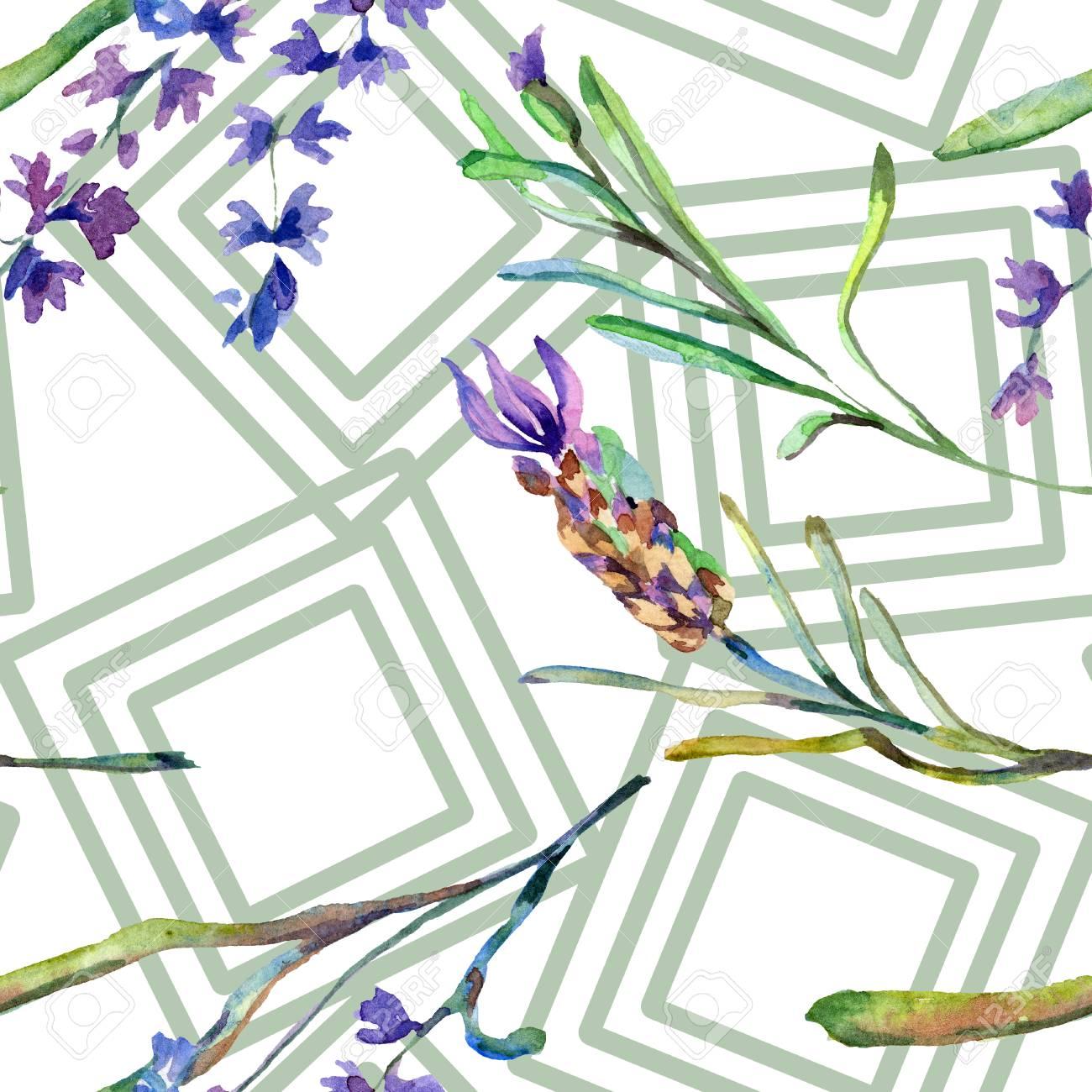 Purple Lavender Floral Botanical Flower Seamless Background