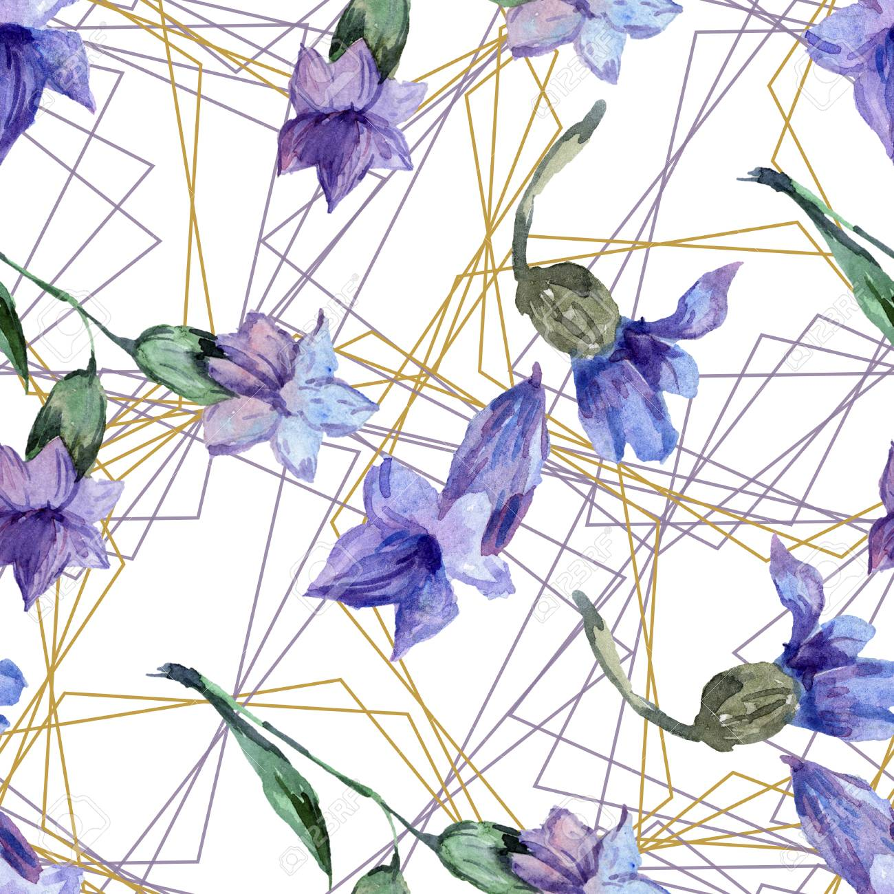 Purple Lavender Floral Botanical Flower Watercolor Seamless