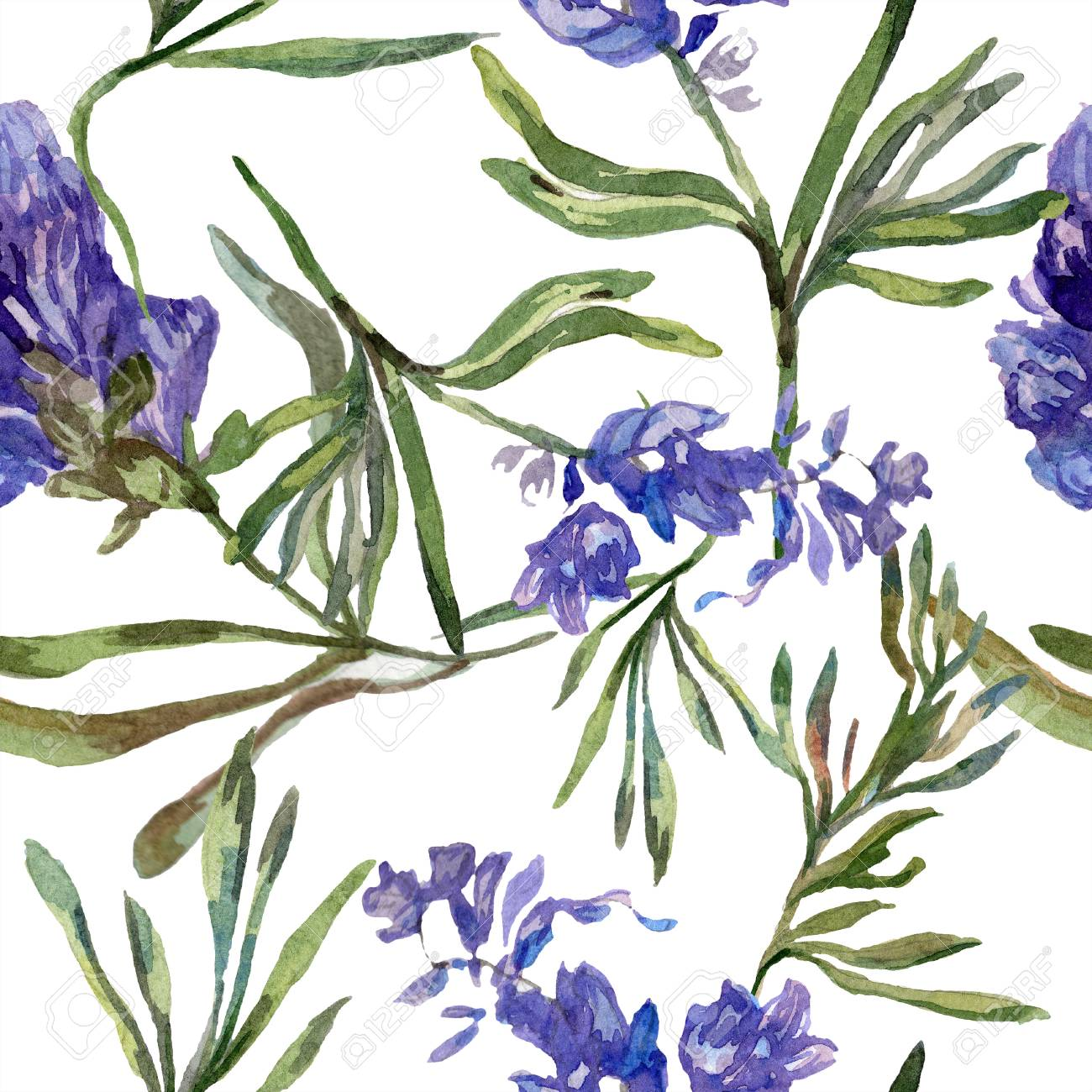 Purple Lavender Floral Botanical Flower Seamless Background