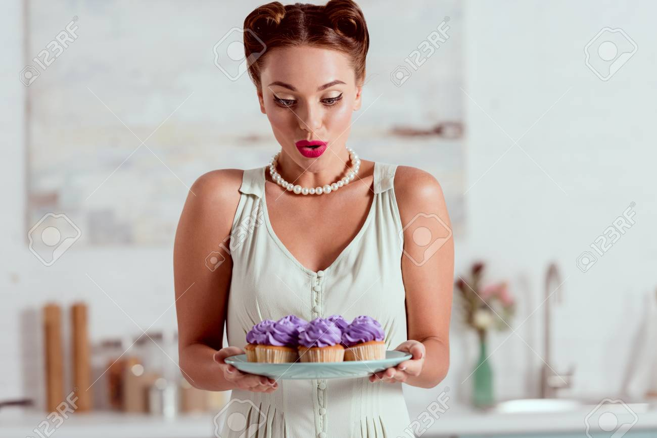 Sensational Beautiful Pin Up Girl Looking At Plate Full Of Cupcakes Royalty Funny Birthday Cards Online Sheoxdamsfinfo