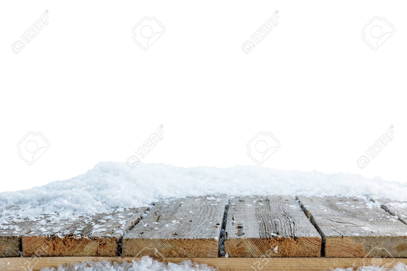 striped wooden rustic material covered with snow on white