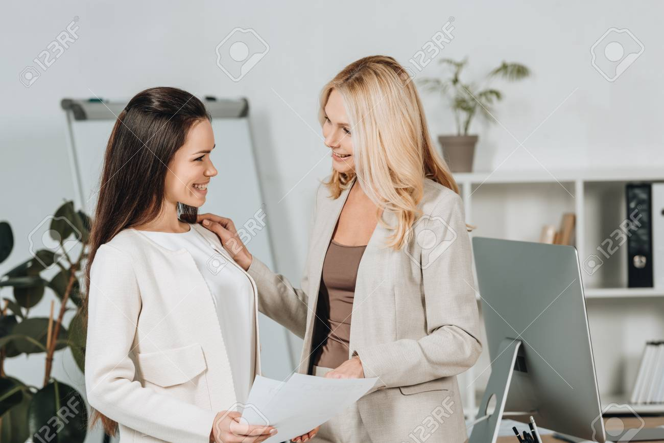 Mature woman with colleague
