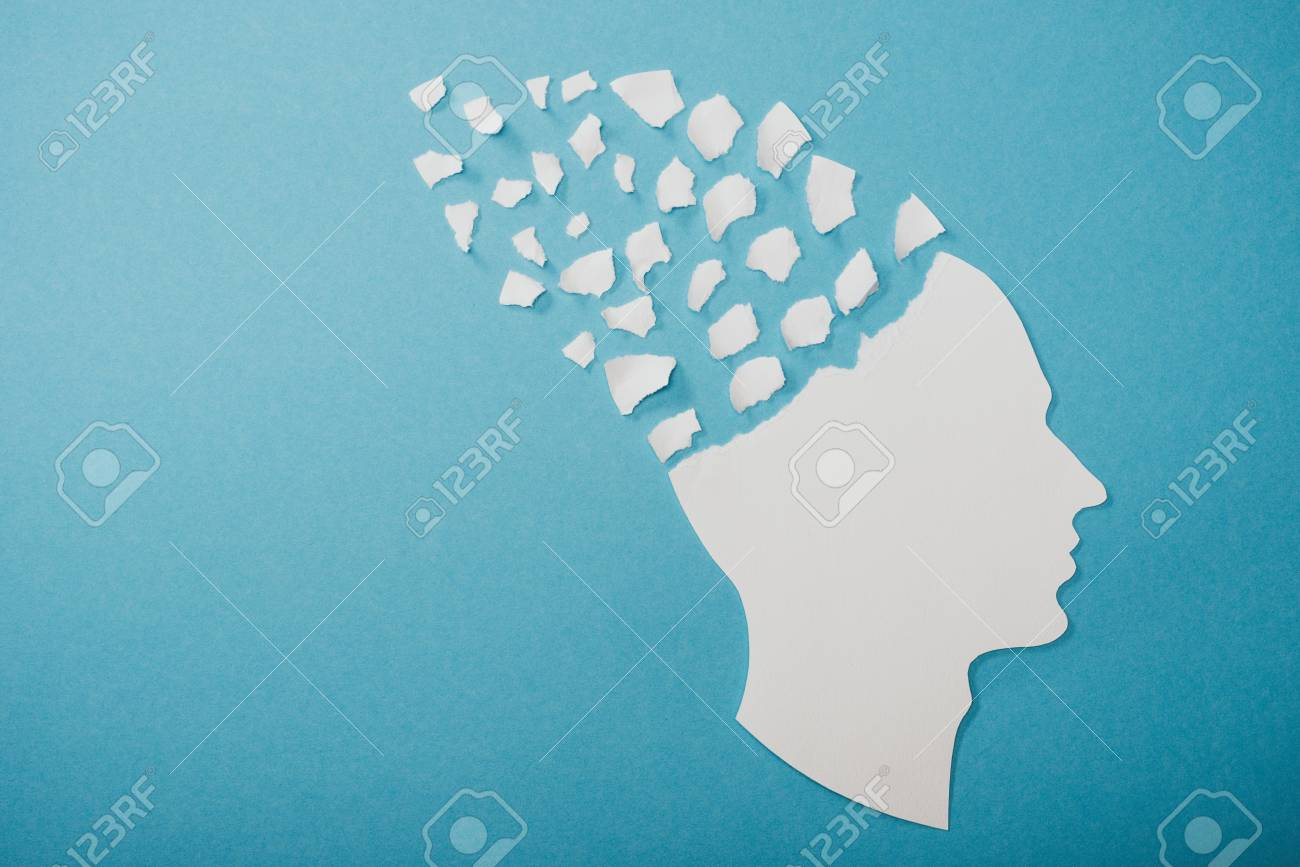dementia symbol presented as face isolated on blue - 117439208