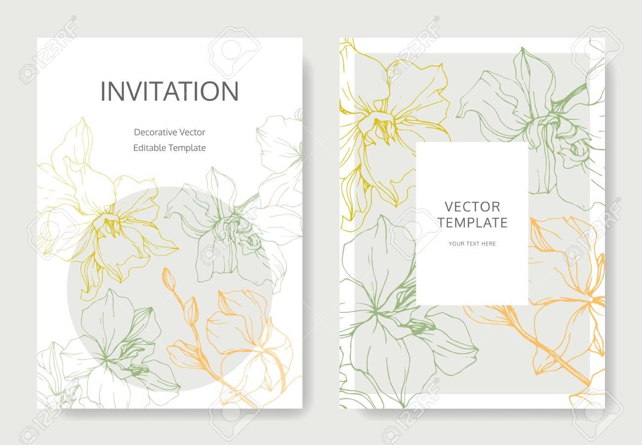 Vector Yellow, green and orange Orchid flower. Engraved ink art. Wedding background card floral decorative border. Thank you, rsvp, invitation elegant card illustration graphic set banner. - 117644855