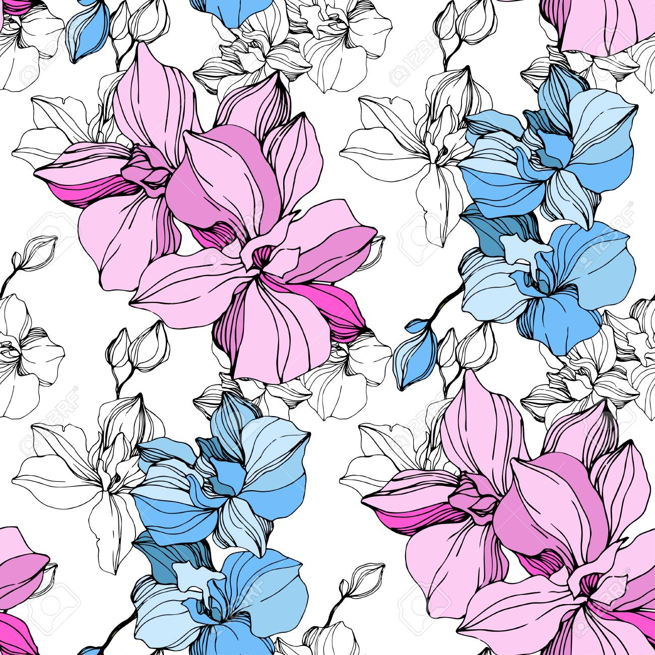Vector Pink and blue orchid. Floral botanical flower. Wild spring leaf wildflower isolated. Engraved ink art. Seamless background pattern. Fabric wallpaper print texture. - 125014929
