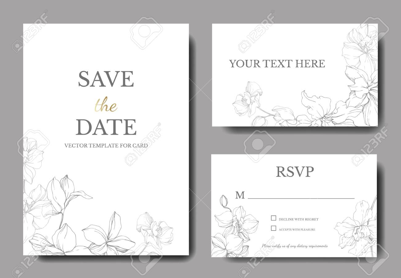 Vector. Orchid botanical flower. Gray and white engraved ink art. Wedding background card floral decorative border. Thank you, rsvp, invitation elegant card illustration graphic set banner. - 117414872