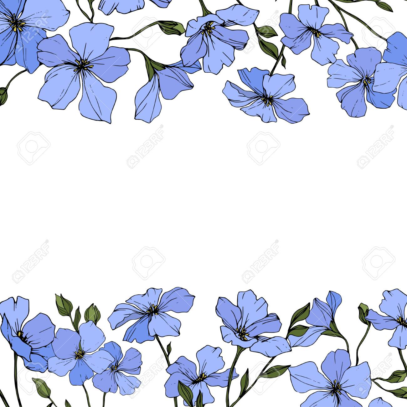 Vector Blue Flax Floral Botanical Flower With Green Leaves