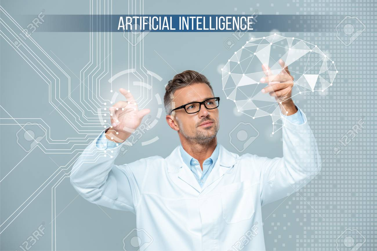 handsome scientist in white coat and glasses moving brain interface,