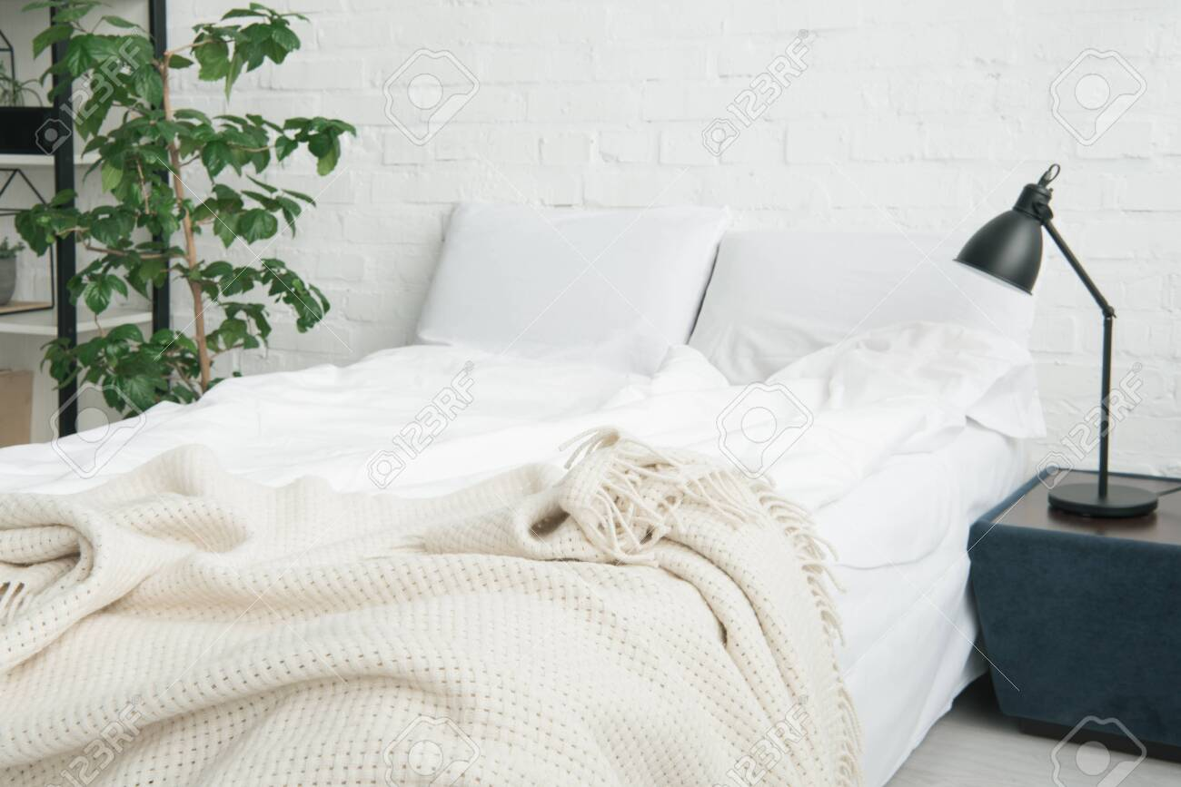 Bed With White Blanket And Pillows Plant And Lamp On Black Nightstand