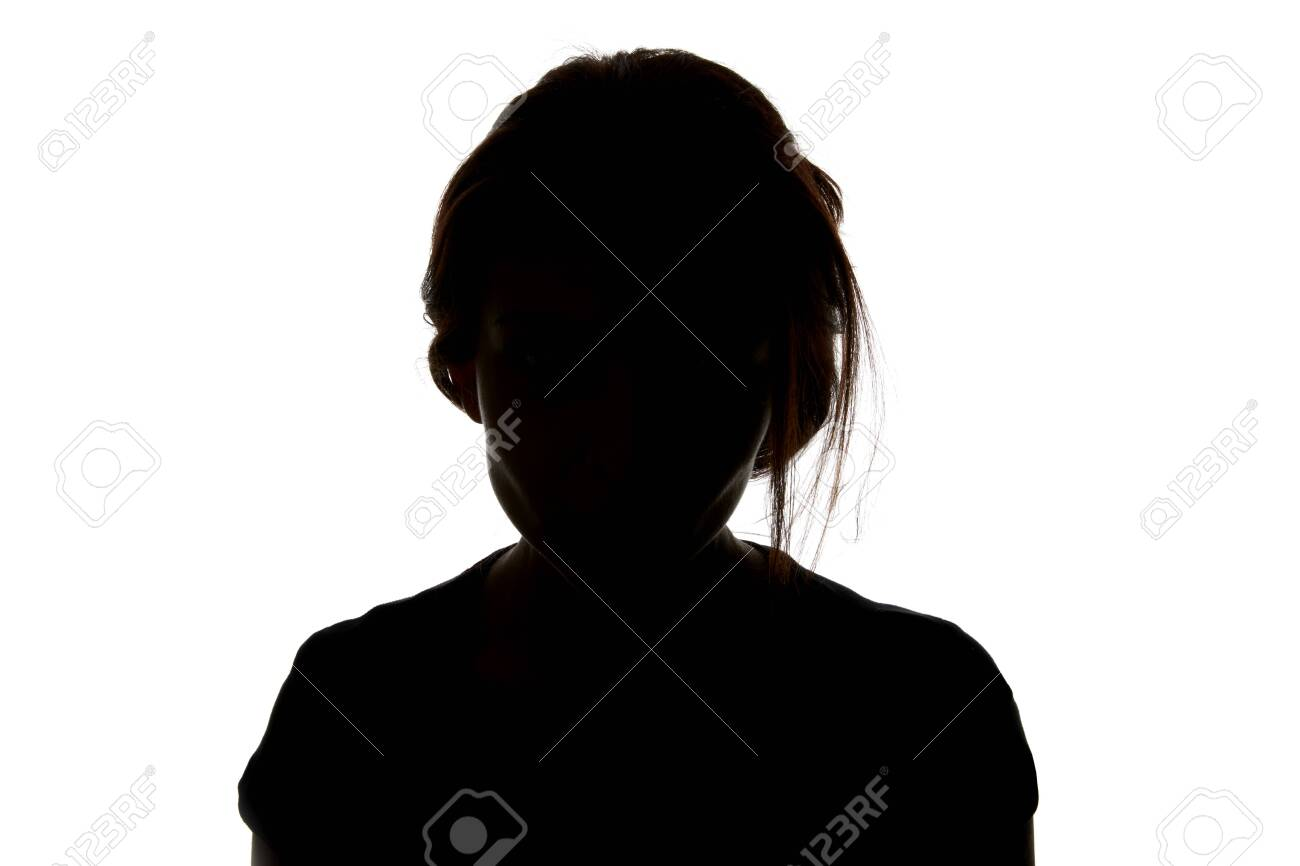 Silhouette of woman looking at camera isolated on white - 120212530