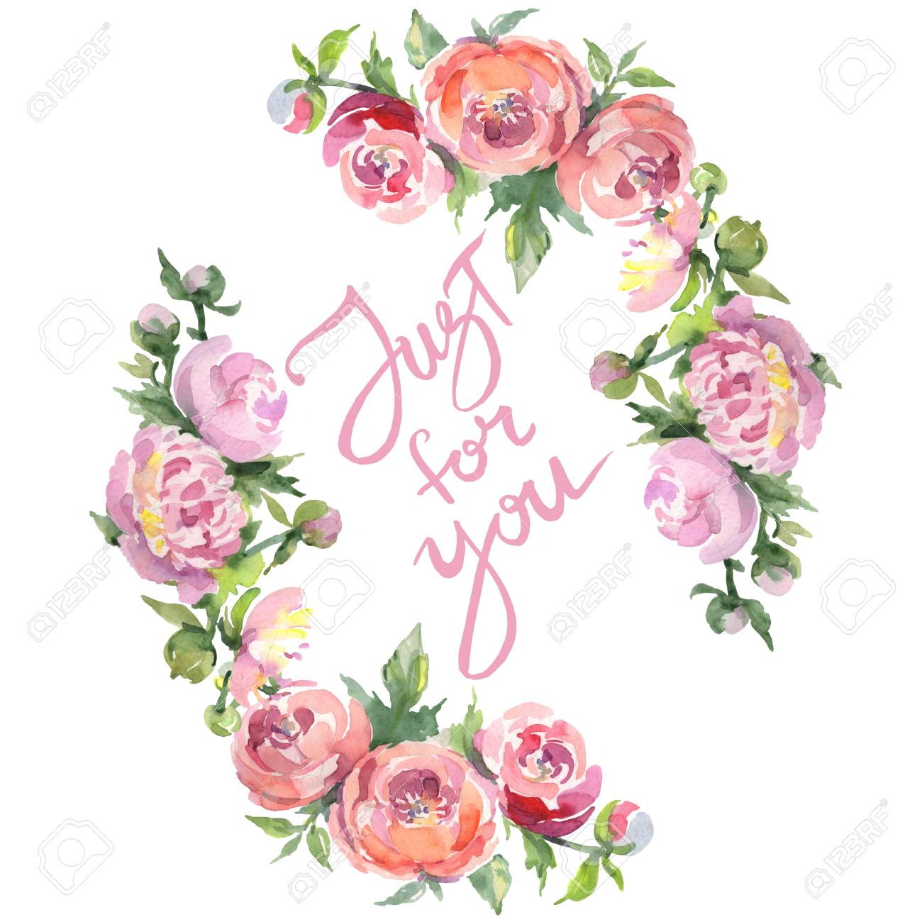 Peony bouquet floral botanical flowers. Wild spring leaf wildflower isolated. Watercolor background illustration set. Watercolour drawing fashion aquarelle isolated. Frame border ornament square. - 123099796