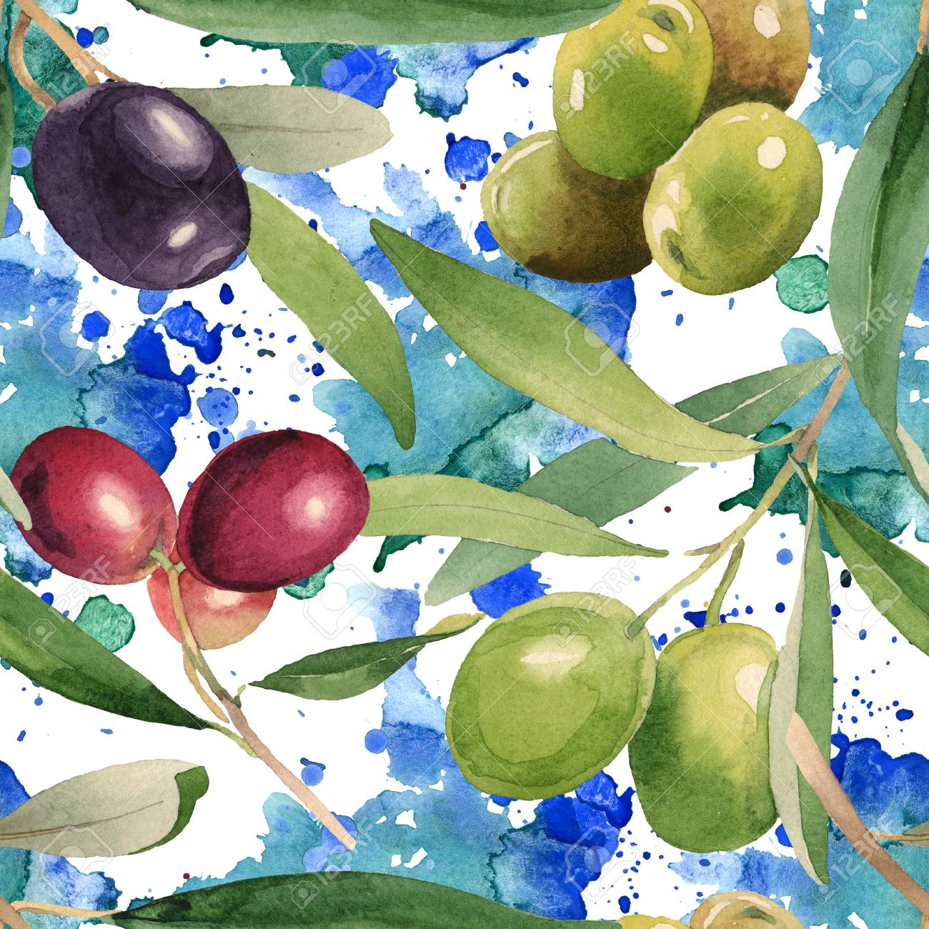Fresh Olives Healthy Food Watercolor Background Illustration Set Watercolour Drawing Fashion Aquarelle Isolated Seamless Background Pattern Fabric