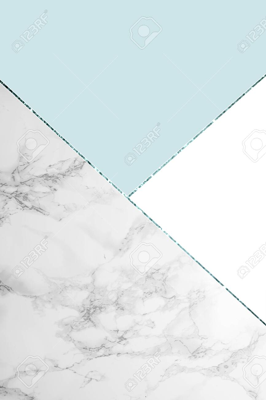 Geometric Background With Grey Marble White And Light Blue Colors Stock Photo Picture And Royalty Free Image Image 125528083