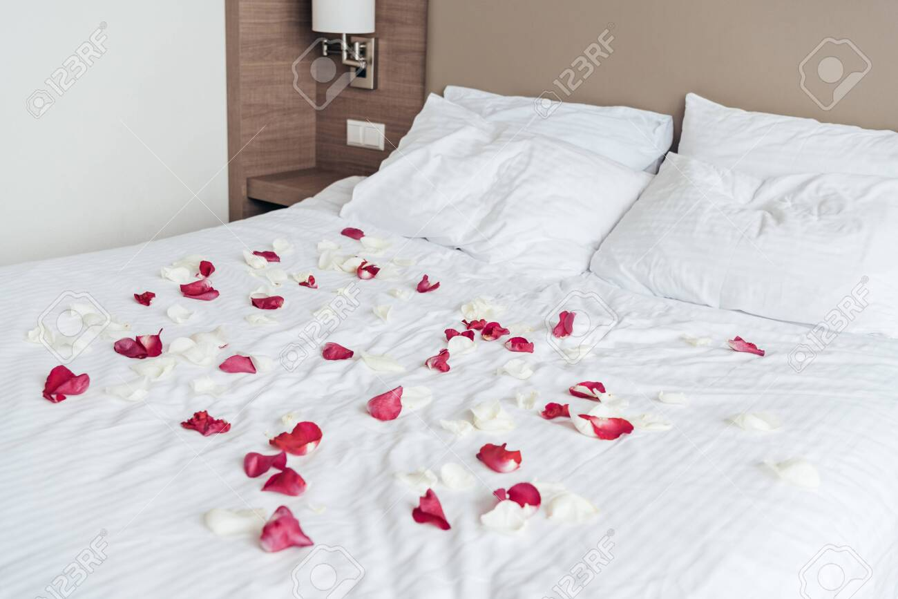 White And Pink Rose Petals On White Sheet On Bed In Bedroom Stock Photo Picture And Royalty Free Image Image 128156819