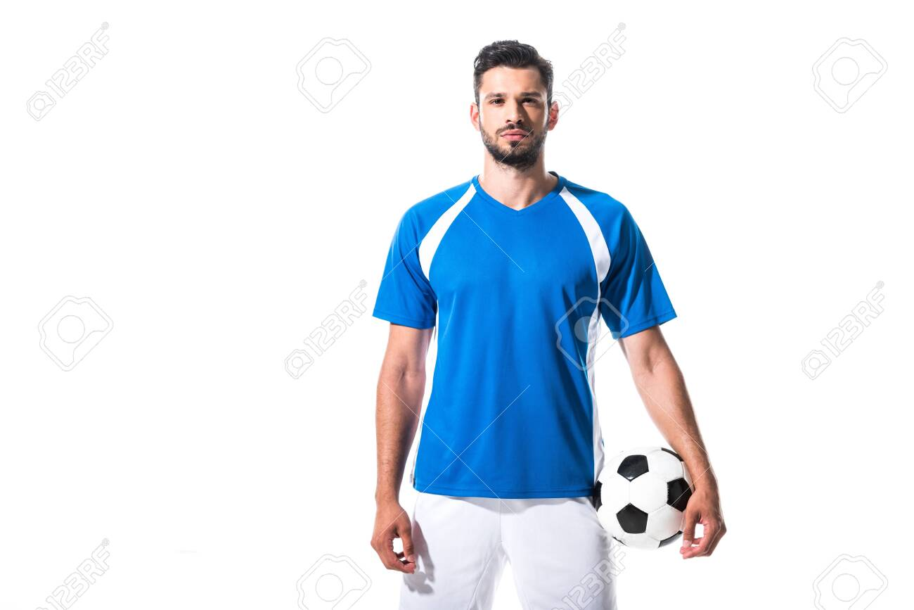 soccer player holding ball and looking at camera Isolated On White - 130215152