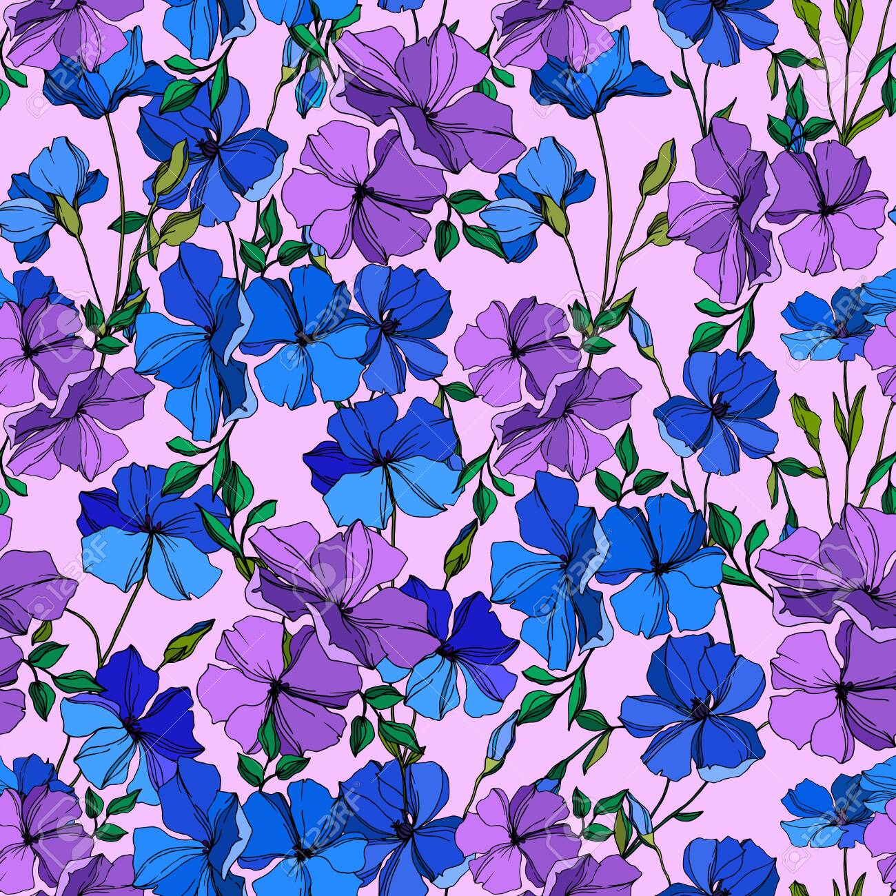 Vector Flax floral botanical flowers. Wild spring leaf wildflower isolated. Blue and violet engraved ink art. Seamless background pattern. Fabric wallpaper print texture. - 130112306