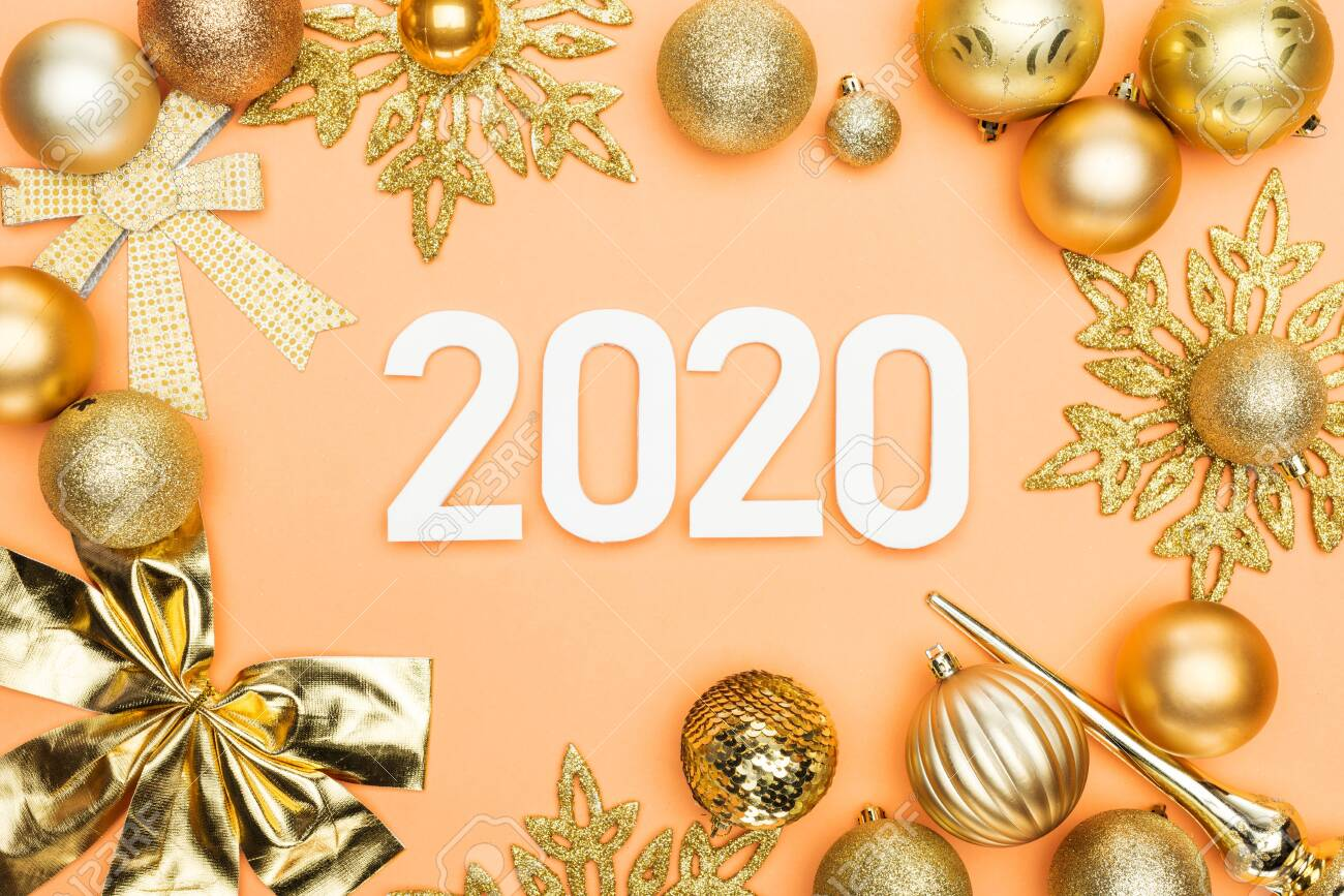 Christmas View Decoration 2020 Top View Of White 2020 Numbers In Frame Of Golden Christmas