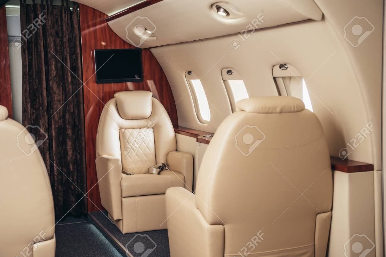 luxury, comfortable and modern cabin of private plane - 134014074