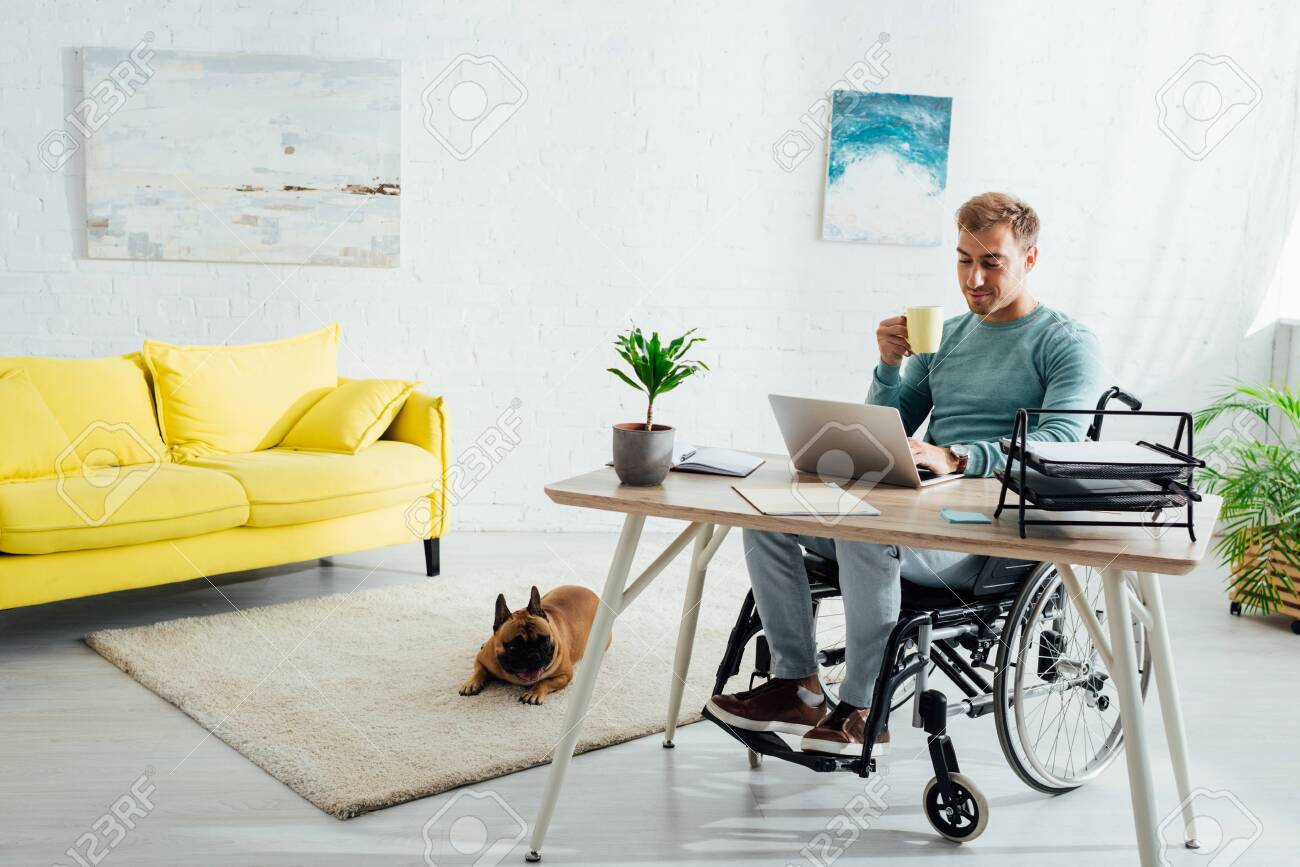 Disabled man with laptop and cup and french bulldog in living room - 134076070