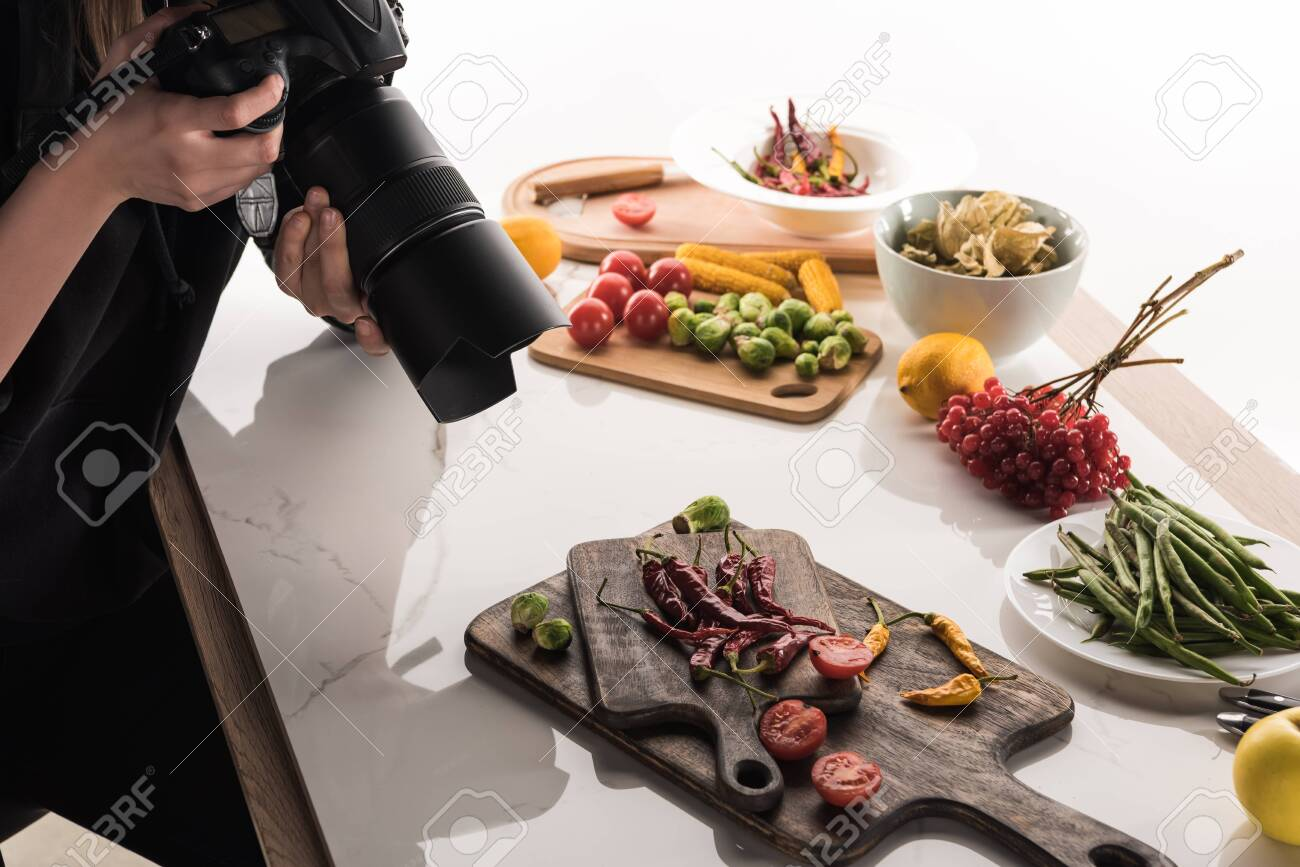 Cropped View Of Female Photographer Making Food Composition For Stock Photo Picture And Royalty Free Image Image 134811484