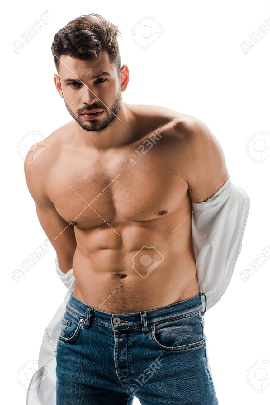 seductive muscular man in white shirt and jeans isolated on white - 144106893
