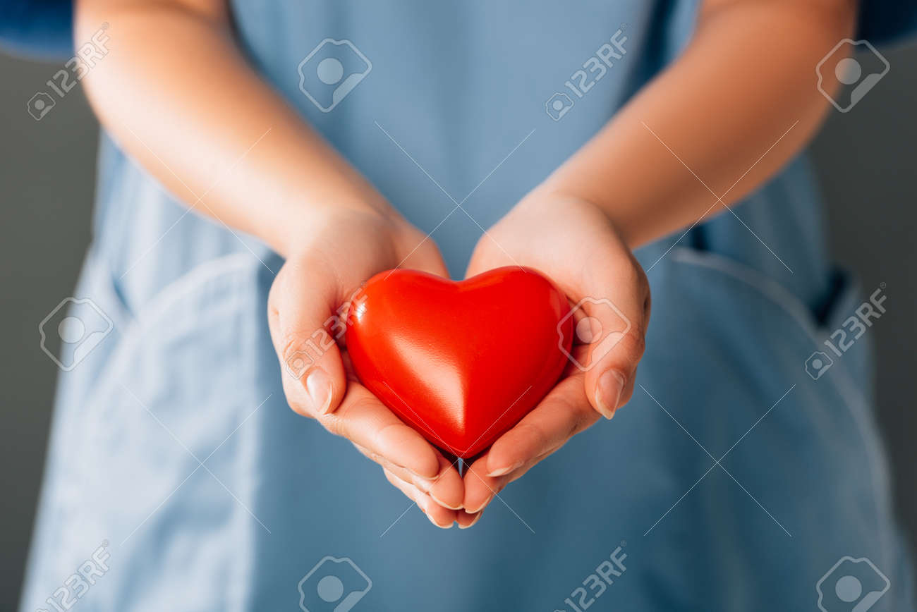 cropped view of doctor holding red heart - 153699837
