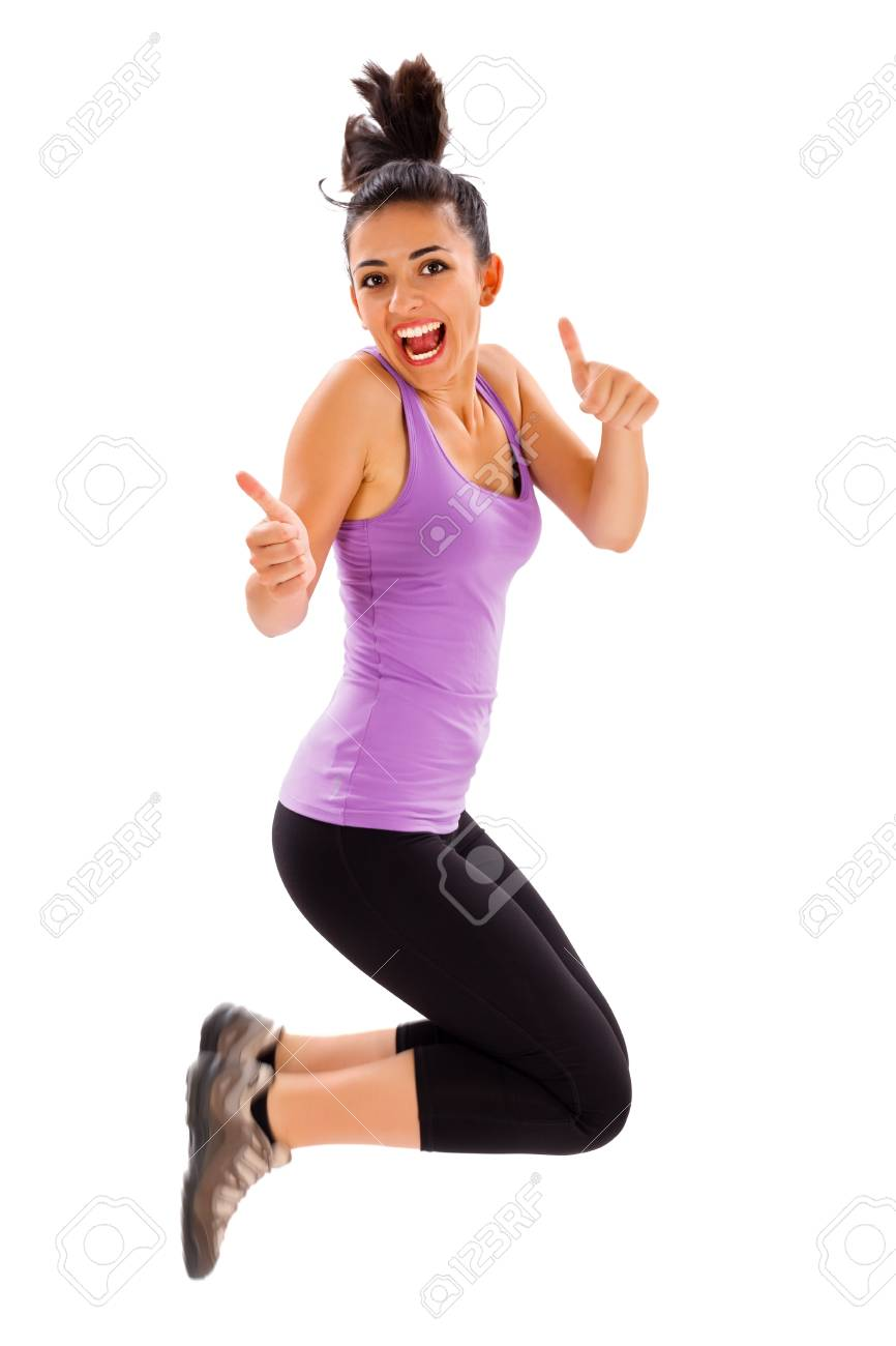 Cute Girl Laughing And Jumping While Showing Thumbs Up At The ...
