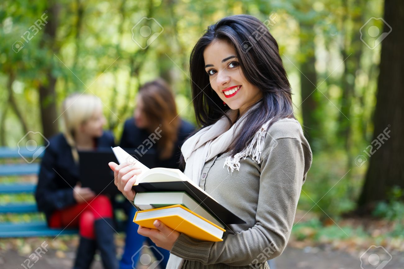 Beautiful Student Girls In The University Campus Studying For.. Stock  Photo, Picture And Royalty Free Image. Image 23343104.