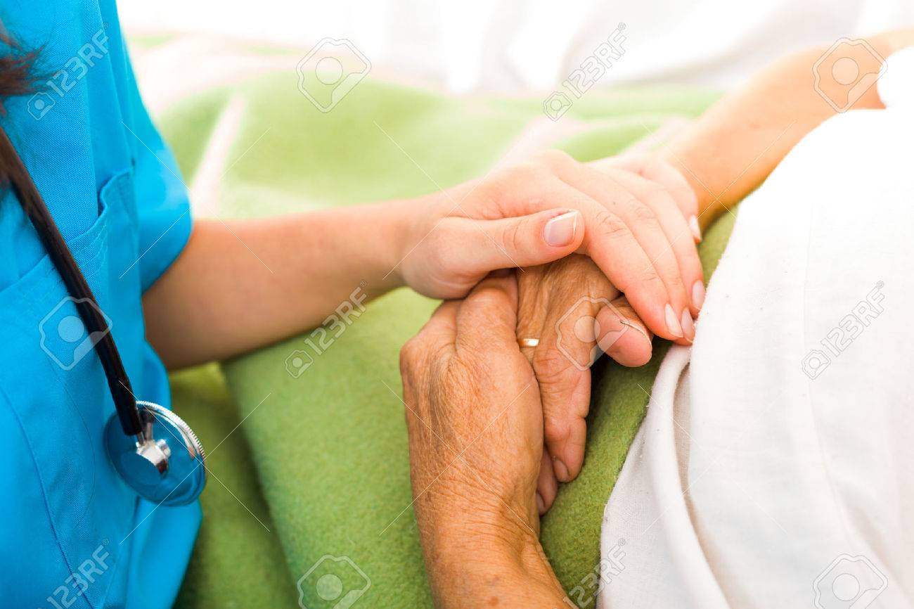 Care help love and trust to elderly people - holding hands. Stock Photo - 41761627