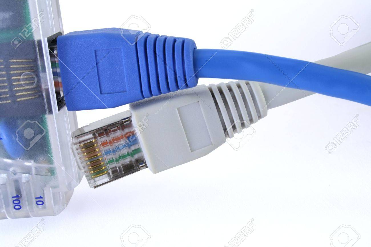 two network cables one port not enough resources to connect stock photo two network cables one port not enough resources to connect everyone