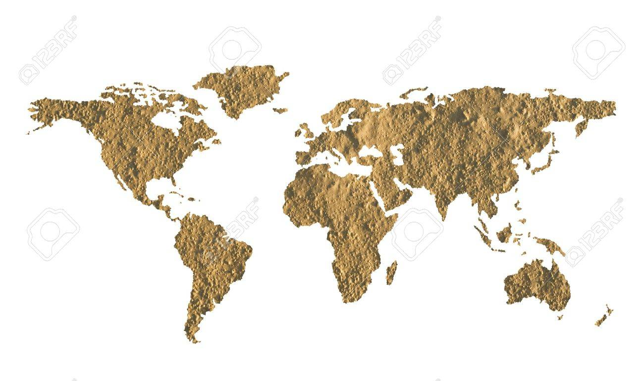 World map made of fine grained dry mud - ecology concept Stock Photo - 8664595