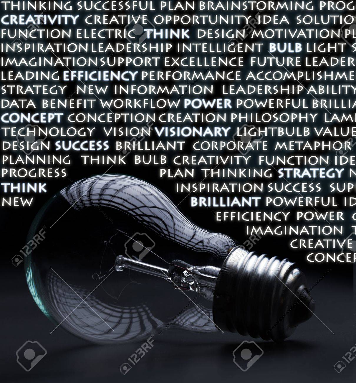 Old incandescent electric bulb with idea and creativity concept words - 12798892