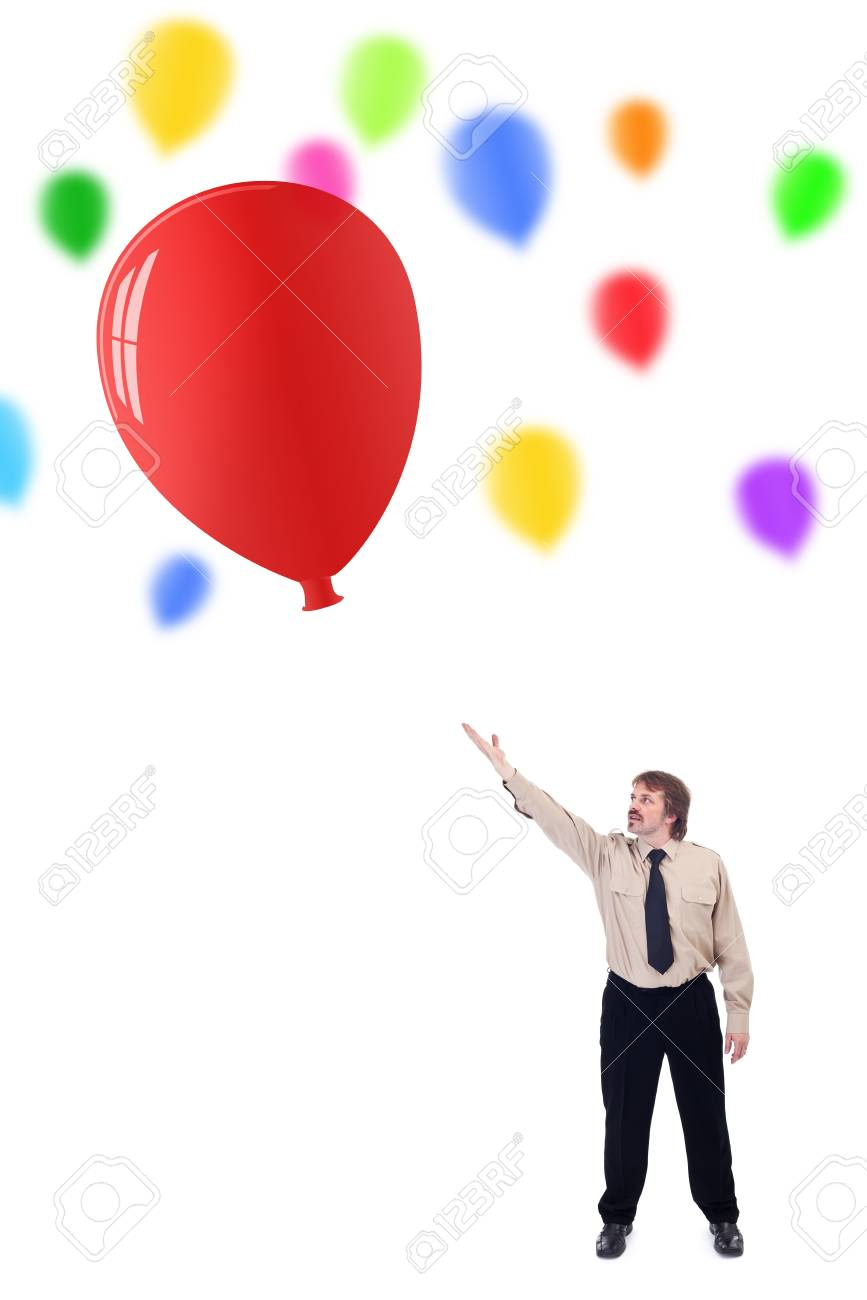 Businessman launching new ideas concept - with colorful balloons Stock Photo - 13109913