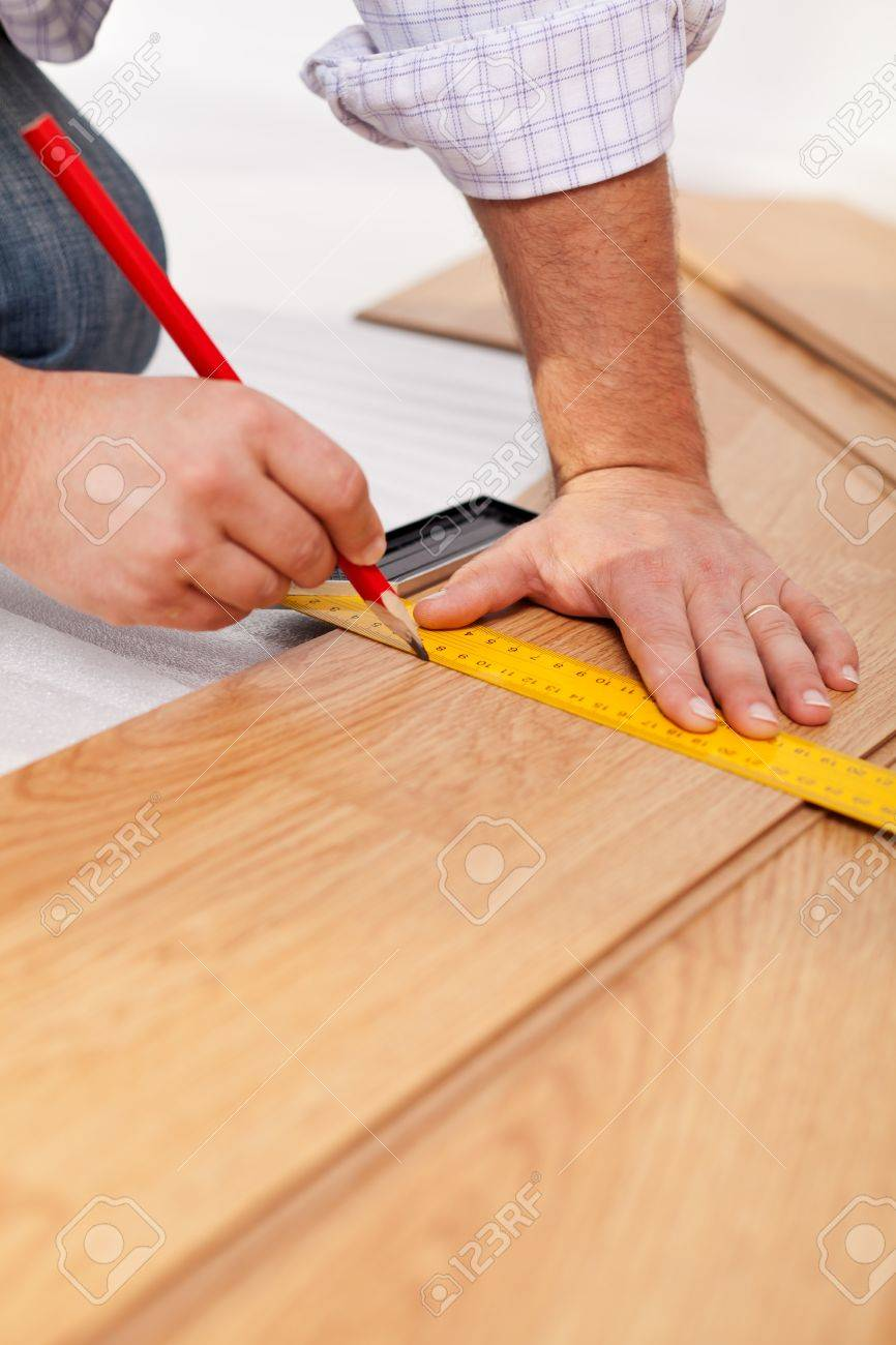Laying Laminate Flooring Plancks The Measuring Closeup Stock Photo 13615110