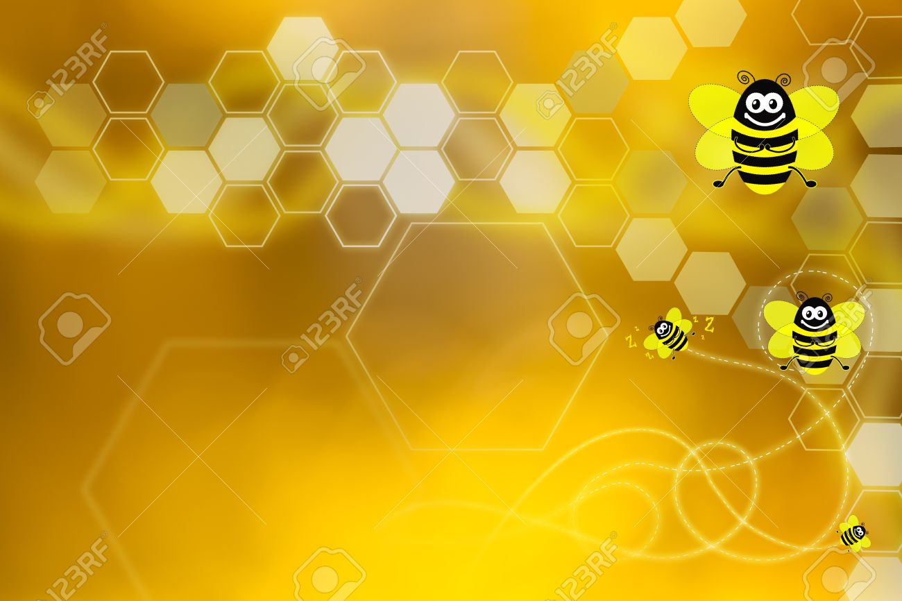 Golden Wallpaper With Honeycomb Elements And Bees Flying Stock Photo