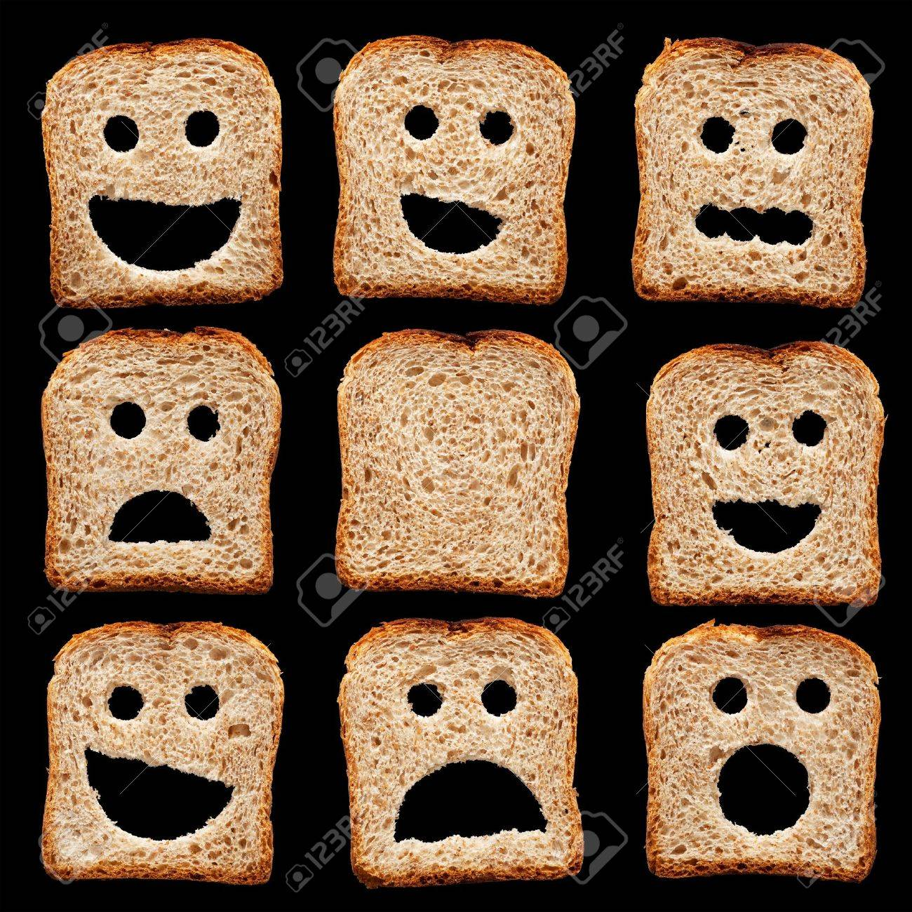 Bread slices with happy sad and other facial expressions - isolated on black Stock Photo - 15651633