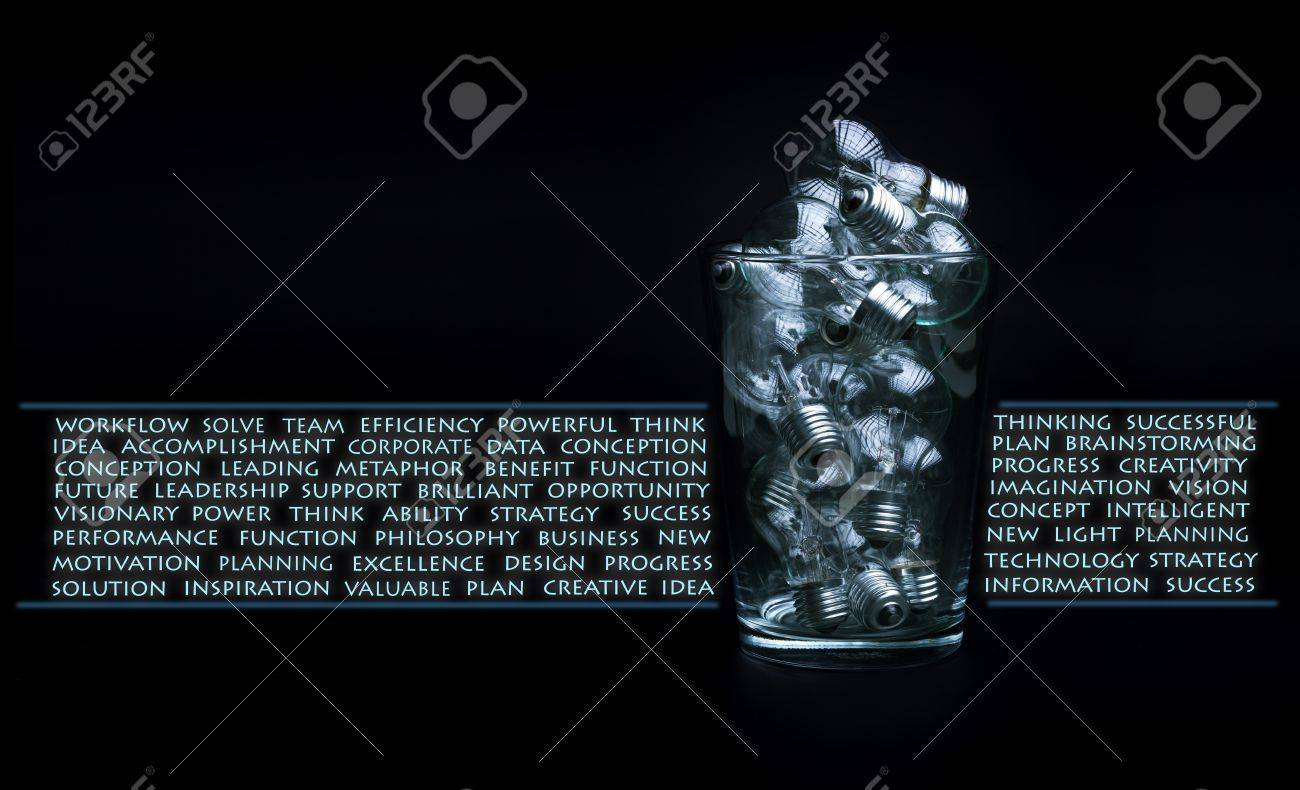 Creativity and brainstorming concept with lots of bulbs in glass bowl Stock Photo - 15966238