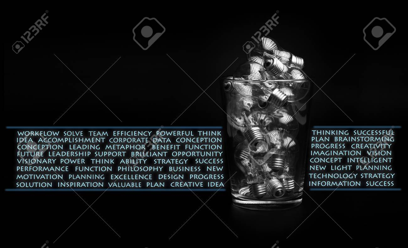 Creativity and brainstorming concept with lots of bulbs in glass bowl Stock Photo - 17380437