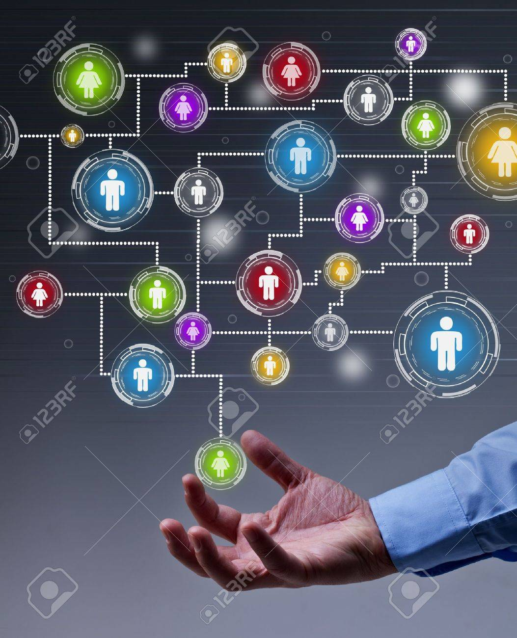The leverage of social networking in business concept - 18434980